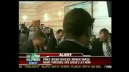 Iraqi Reporter Throws Shoes At Bush.avi