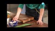 Хапки с фалшив пастет, трюфели от нахут, кайма върху жълт ориз - Бон Апети (01.04.2013)