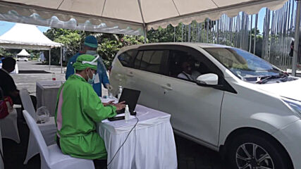Indonesia: Drive-thru COVID vaccination centre set up Bali