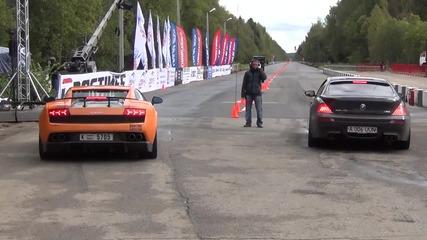 Bmw M6 E63 Ess (900 bhp) vs. Lamborghini Lp 570-4 Evotech St.2 (600 bhp). 1 Mile -