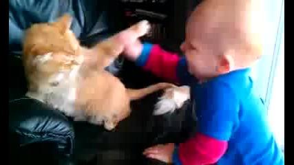 Бебе срещу коте:):)