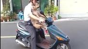 Смях ... Куче иска да се вози на мотор