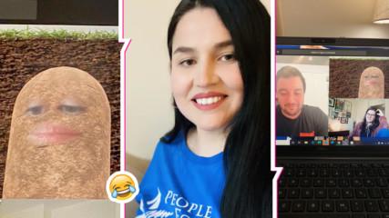 Хоум офис смях! Жена се превърна в картоф във видео среща, не знае как да ''стане'' себе си отново