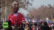 Chile: Effigies of football stars Sanchez and Vidal assist education activists