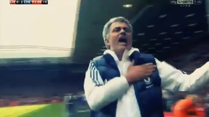 Реакцията на Моуриньо след гола на Уилиан срещу Ливърпул