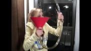 drunk girl spills beer bong