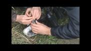 спасяването на оплетена в рибарска мрежа птица