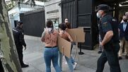 Spain: Topless Femen activists protest near US Embassy against Texas abortion law *EXPLICIT*