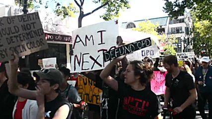 USA: Camp kids lead Black Lives Matter protest in Oakland
