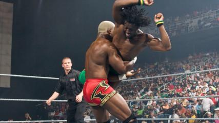 Kofi Kingston blasts Shelton Benjamin with Trouble in Paradise: WWE ECW, Apr. 22, 2008 (WWE Network Exclusive)