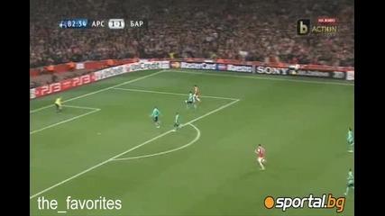 Арсенал порази мълниеносно Барса с късен обрат (2:1)