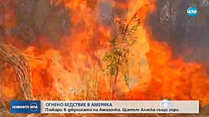 Големи пожари бушуват в Амазонската джунгла и в щата Аляска