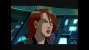 Черната Вдовица от анимациите Върховни Отмъстители 1/2 и Отмъстителите: Най-могъщите герои на Земята