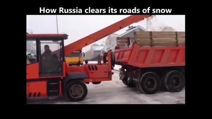 Ето как се почистват заснежните улици в Русия