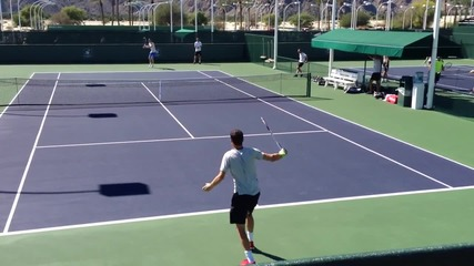 Grigor Dimitrov Tennis Practice Hd with Tomas Berdych 2014 Indian Wells
