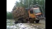 Дълъг камион натоварен с дърва се преобръща след неуспешен опит да излезе от канавка край път