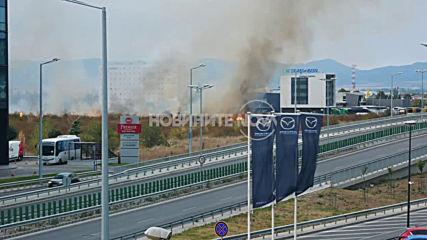 Пожар на метри от летище София