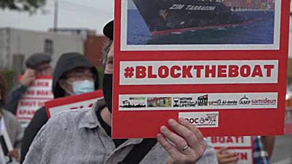 USA: 'Block the boat' activists protest Israeli cargo ship in New Jersey