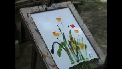Слон рисува цветя.. !