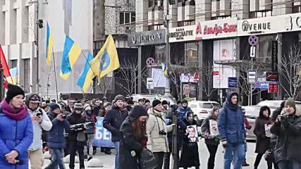 Ukraine: Dozens march to commemorate Euromaidan activists in Kiev