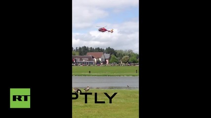 UK: Air ambulance arrives after rollercoaster crash at Alton Towers