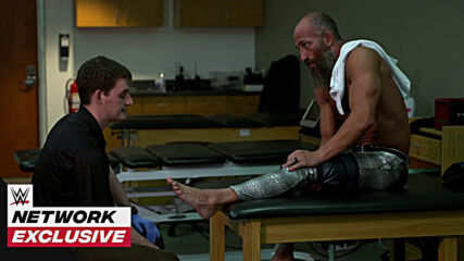 Tommaso Ciampa is examined after the Fight Pit: WWE Network Exclusive, Jan. 20, 2021