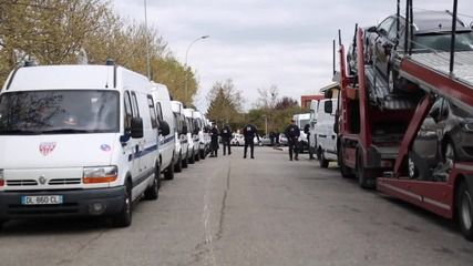 France: Taxi drivers block the streets of Toulouse in anti-Uber protest