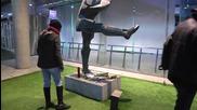 Spain: Football fans lay flowers at Johan Cruyff statue in Barcelona