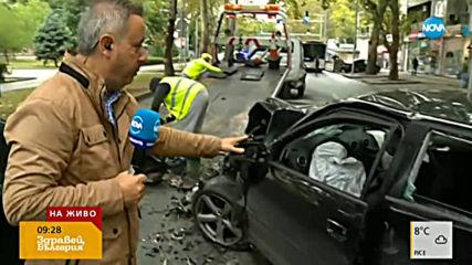 Катастрофа в центъра на Пловдив: Кола се удари в автобус