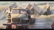 Руската инженерна войска в действие - бързо сглобяване на понтонен мост