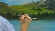 S23 Радостта на живописта с Bob Ross E03 Mountain Ridge Lake ღобучение в рисуване, живописღ