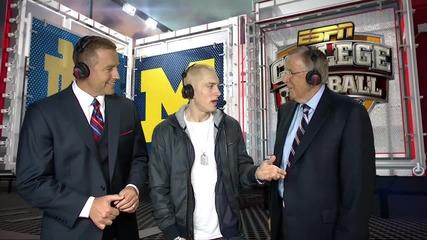 Eminem talks Berzerk, Mmlp2 & asks Brent Musburger to call a Lions Game