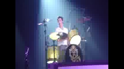 Jonas Brothers in Birmingham Live To Party good view of Joe Kevin and foam