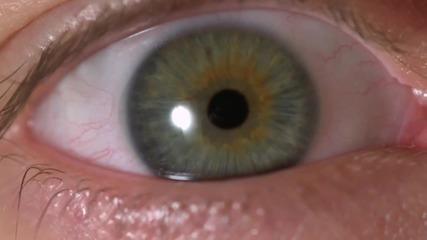 Движение на окото и ириса в забавен кадър