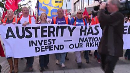 UK: 'Tories out' - thousands protest outside the Conservative conference in Birmingham