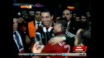 Роналдо се срещна със свой двойник в Турция преди мача Галатасарай - Реал Мадрид - 10/04/2013