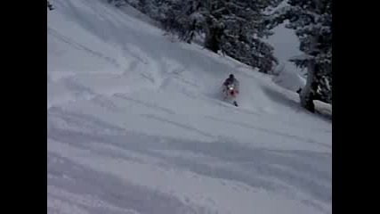 Honda 450x in powder