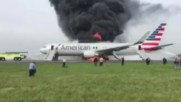 USA: 8 injured after American Airlines flight 383 catches fire on runway in Chicago