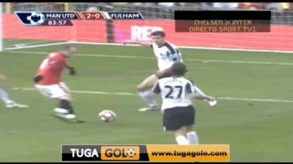 14.03 асистенция на Бербатов Манчестър Юнайтед 3:0 Фулъм гол на Рууни