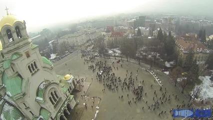 Протест в София сниман от въздуха