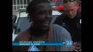 Откачен Полицай предизвиква на бой Гангстер и го набива с юмруци