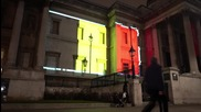 UK: Trafalgar Square lit up in Belgian colours to honour Brussels victims