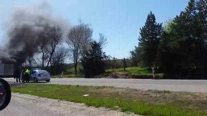 Камион се запали на пътя Димитровград - Хасково