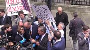 UK: Protesters gatecrash launch of UKIP 'leave' poster featuring refugees