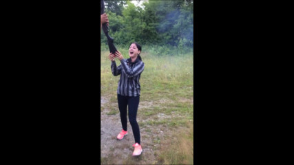 Girl Shooting 12-gauge Shotgun for the first time