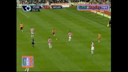 Stoke City - Wigan Athletic 2 - 2 феноменален гол на Фигероа 12.12.2009