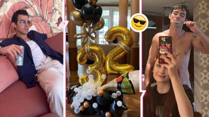 Гол и влюбен: Джо Джонас празнува рожден ден вкъщи