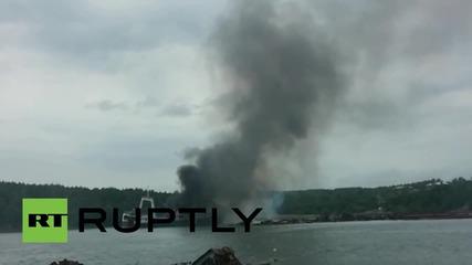 Russia: EMERCOM extinguish diesel-fuelled blaze on trawler