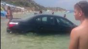 Румънски турист паркира Bmw в морето в Гърция !