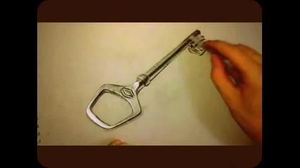 Страхотна реалистична рисунка на ключ!